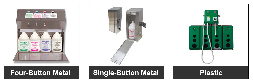Left to right: Four Button Metal Dispensers, Single Button Metal Dispensers, and Plastic Dispensers